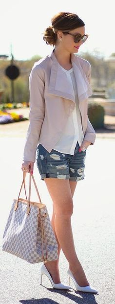 Pink Faux Leather Jacket and Ripped Short - For Al...