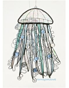 stained glass jellyfish pattern | Stained Glass JELLYFISH Suncatcher - Iridescent Clears, Seafoam Green ...