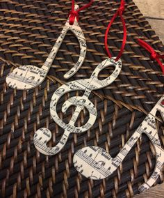 Set of 3 wooden music Christmas ornaments treble clef note note w/ music on front and back Music Christmas Ornaments, Diy Christmas Gifts, Holiday Crafts, Christmas Holidays, Christmas Decorations, Sheet Music Ornaments, Sheet Music Crafts, Crafts For Seniors, Music Decor