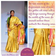 Rekha made gold Kanjeevaram Saree eternal and Gaurang Shah brought it to the ramp. With his trademark green bindi it's a classic for keep. Description by Pinner Mahua Roy Chowdhury