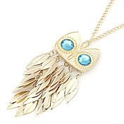 Gold Plated Alloy Zircon Owl Pattern Necklace – USD $ 4.99