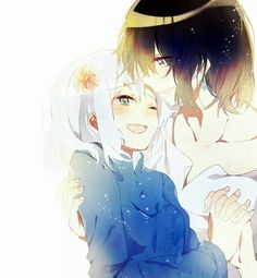 Howl's moving castle. ..sweet anime couple. .flower..happy. .smile. .