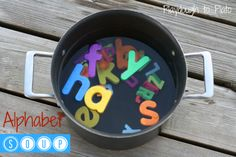 Alphabet Soup. Playful, hands-on way to teach children alphabet letters.  {Playdough to Plato}