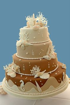 Beach wedding cakes and seashell wedding cakes are perfect for a tropical or beach wedding theme. Decorated with a gorgeous selection shells imported from tropical countries. Gorgeous Cakes, Pretty Cakes, Amazing Cakes, Themed Wedding Cakes, Themed Cakes, Cake Wedding, Themed Weddings, Wedding Cupcakes, Seashell Wedding