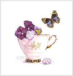 -Tea Cup and Pansies