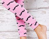 Leg Warmers - Pink Black Moustache - Movember