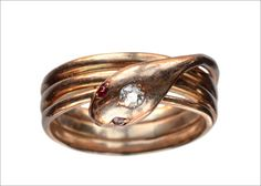 1900s Edwardian Diamond and Ruby Snake Ring, 14K Rose Gold(in...