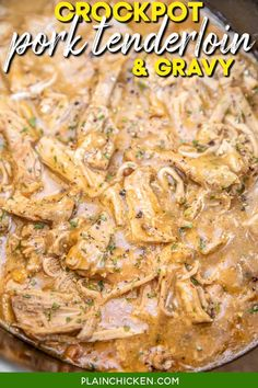 Slow Cooker Pork Tenderloin & Gravy – only 3 ingredients!! Pork tenderloin, gravy mix, and cream of chicken soup. Such a great weeknight meal! Just dump everything in the crockpot and let it work its magic! Serve over hot steamed rice or potatoes with some green beans. SO easy and kid-friendly too! Bean Recipes, Pork Recipes, Slow Cooker Recipes, Crockpot Recipes, Cooking Recipes, Recipies, Game Recipes, Chicken Recipes, Slow Cooker Pork Tenderloin