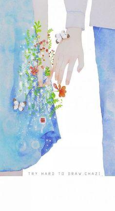 New Beautiful Art Drawings Feelings Anime Ideas Art Drawings Beautiful, Cute Drawings, Cute Wallpapers, Wallpaper Backgrounds, One Photo, Cute Couple Art, Hand Art, Anime Scenery, Pics Art