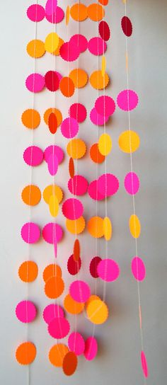 MA Neon garland Birthday party decor Pink orange garland Hawaiian party decorations Summer decoration Nursery decor Neon wedding by TransparentEsDecor