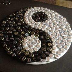 Yin Yang Handmade Bottle Cap Art - one of a kind - water bottle caps and CDs Bottle Top Art, Bottle Top Crafts, Bottle Cap Projects, Bottle Cap Table, Beer Bottle Caps, Beer Caps, Beer Cap Crafts, Cork Crafts, Diy And Crafts