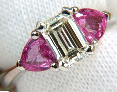 3.18CT NATURAL EMERALD CUT DIAMOND PINK SAPPHIRE RING 14KT