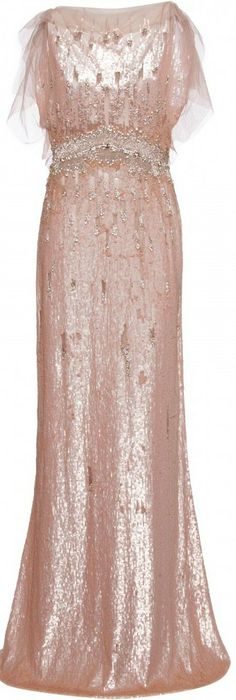 Jenny Packham peach and crystal embellished gown