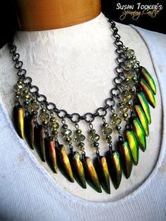 SCARAB FANTASY - Fairy Copper Jewel Beetle Elytra Wing Necklace Rare by Susan Tooker of Spinning Castle