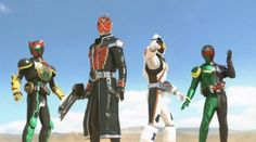 The Neo Heisei Riders, Kamen Rider Double, Kamen Rider OOO, Kamen Rider Fourze and Kamen Rider Wizard.