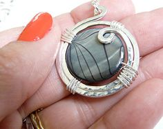 Sterling Silver Medallion Pendant Necklace Medium Size Pendant Mother of Pearl Wrapped Stone Pendant Sterling and Stone Necklace