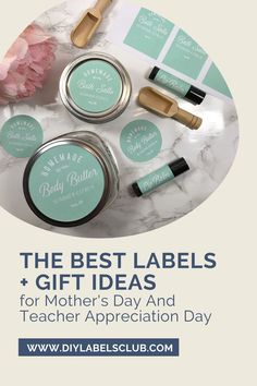Mother's Day and Teacher Appreciation Day are coming up soon! Don't wait until the last minute and buy a generic gift off the store shelf. Head over to the DIY Labels Club blog to find DIY gift ideas, labels, and tags. Give a personalized gift this year they're sure to love! Diy Holiday Gifts, Teacher Christmas Gifts, Unique Christmas Gifts, Holiday Crafts, Diy Gifts For Mothers, Mother Day Gifts, Homemade Essential Oils, Diy Videos, Gift Cards