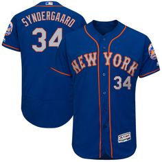 Men's New York Mets Noah Syndergaard Majestic Royal/Gray 2017 Alternate Authentic Collection Flex Base Jersey