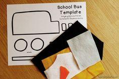 Create a School Bus Feltie for flannel or felt board using a FREE Printable School Bus Craft Template. School Bus Art, School Bus Crafts, School Stuff, Printable Crafts, Templates Printable Free, Kids Travel Games, Felt Board Patterns, School Template, Felt Board Stories