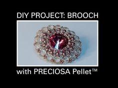 Beaded Shiny Rivoli Pendant or Brooche Beading Tutorial by HoneyBeads1 (Photo tutorial) - YouTube