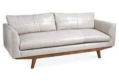 Carmel Sofa, Oyster-Gray Leather