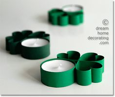 Make a set of adorable shamrock-accented tea lights in no time for your St. Patrick's Day decor! Deco St Patrick, Fete Saint Patrick, St Patrick's Day Crafts, St. Patricks Day, St Patrick's Day Decorations, Toilet Paper Roll Crafts, St Paddys Day, Paper Strips, Luck Of The Irish