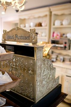 vintage cash register from Miss Courtney's Tearooms.where can i get that beautiful cash register. Vintage Tea Rooms, Vintage Bakery, Vintage Cafe, Vintage Shops, Vintage Items, Vintage Cash Register, Cupcake Shops, Bakery Cafe, Bakery Store
