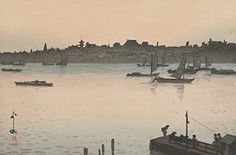"""Japanese Art Print """"Sumida River"""" from the Series """"Twelve Views of Tokyo"""" by Yoshida Hiroshi (Evening). Japanese Prints and Art Reproductions http://www.amazon.com/dp/B00ZAN3WUM/ref=cm_sw_r_pi_dp_L-Buwb030A1P0"""