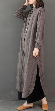 Vintage Loose Linen Long Shirt Women Casual Blouse Vintage Loose Linen Long Shirt Damen Freizeitbluse This image has. Hijab Mode, Abaya Mode, Abaya Fashion, Muslim Fashion, Fashion Dresses, Fashion Trends 2018, Trendy Fashion, Womens Fashion, Ladies Fashion