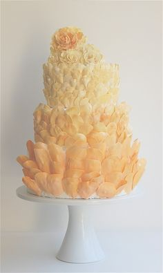 Instead of flowers, coat your cake in ombré petals for a modern take.Cake by Maggie Austin Cake Petal Wedding Cakes, Petal Cake, Amazing Wedding Cakes, Amazing Cakes, Cake Wedding, Gorgeous Cakes, Pretty Cakes, Macaroons, Cookies Decorados