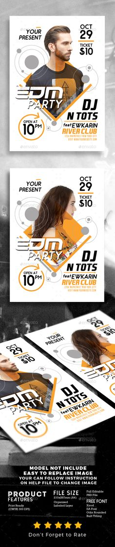 EDM Party Flyer Template - Clubs & Parties Events