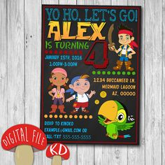 Printable Jake and the Neverland Pirates Invitation - birthday party favor decor - 4x6 or 5x7 inches - chalkboard style