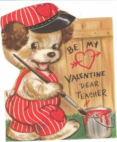 Vintage Valentine Card Terrier Dog Paints Fence Unused Die Cut for Children Dogs   eBay