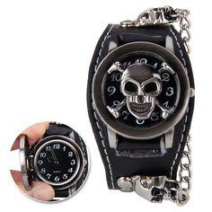 Black Punk Skull Watch