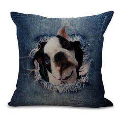 Frenchie Dog Lover Peek-A-Boo Denim Torn Jeans Cotton Linen Car Sofa Pillow Case Cushion Cover