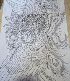 A Phoenix sketch for a rib piece Body Art Tattoos, Sleeve Tattoos, Japanese Phoenix Tattoo, Phoenix Drawing, Dragon Illustration, Phoenix Tattoo Design, Engraving Art, Eagle Tattoos, Asian Tattoos