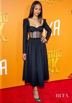 8161c06ee8f6 Zoe Saldana Goes Back To Black For The 'Missing Link' New York Premiere - Red  Carpet Fashion Awards