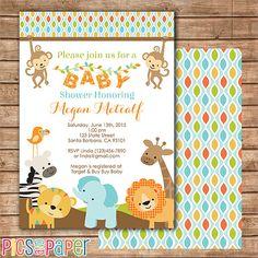 Jungle Safari Baby Shower Invitation Printable by PicsandPaper