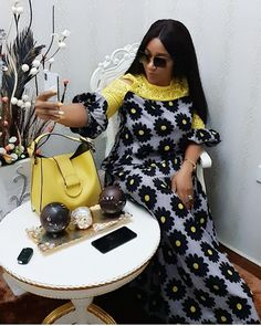 Image may contain: 1 person, sitting African Wear Dresses, African Fashion Ankara, African Print Fashion, African Attire, Ankara Maxi Dress, Maxi Dresses, African Inspired Clothing, African Print Dress Designs, Broken Hearted