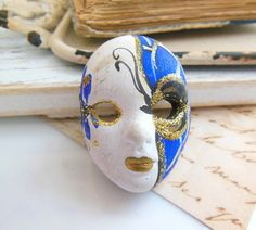 Retro Vintage Blue White Gold Ceramic Woman Face by erisjewels
