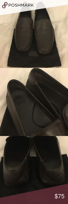 Mens Hugo Boss Loafers US 9.5/EU 43.5 Chocolate brown butter soft lamb leather flat loafers.  Feels like walking barefoot. Hugo Boss Shoes Flats & Loafers
