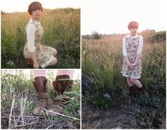 Fall Outfit: White Collared Button-Down Shirt + Floral Dress + Brown lace-up boots