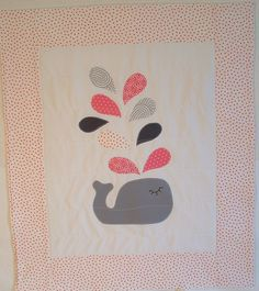 baby blanket, fleece baby blanket, applique crib quilt, stroller blanket, nursery wall decor, whale in baby pink dots and gray
