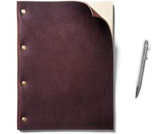 Refillable Brown Leather Notebook (Large) - Kaufmann Mercantile