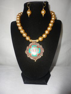 A Stunning Coadedg Gold Pearls Turquoise Coral Pendant Necklace**** by RamsesTreasure on Etsy