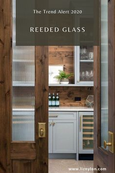 A big trend in 2020 is reeded glass doors. These sexy doors create a sense of mystery & sophication and best yet hides the mess in high style. Read all about it on the blog. Kitchen Pantry Cabinets, Kitchen Cabinet Knobs, Glass Cabinet Doors, Kitchen Doors, Glass Kitchen, Glass Doors, Shaker Cabinets, Wood Pantry Cabinet, Kitchen Small