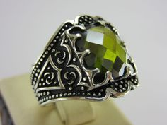 Turkish Handmade Ottoman Style 925 Sterling Silver Peridot Men's Ring Size 10.75 in Jewelry & Watches, Men's Jewelry, Rings | eBay