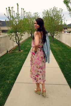 high-low floral dress and jean jacket with gold espadrilles