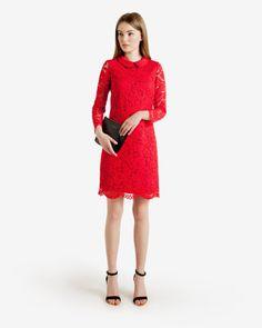 Scalloped hem lace dress - Mid Red | Dresses | Ted Baker UK