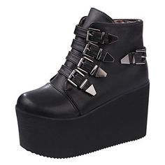 Women's Punk High Platform Multi Buckle Creeper Round Toe Ankle Boots Shoes Size #100new #FashionAnkle